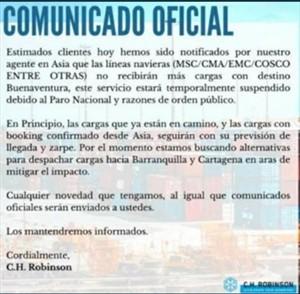Comunicado oficial, CH Robinson